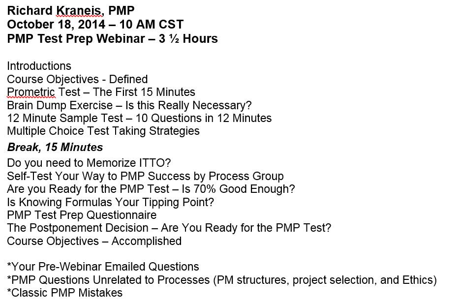 PMP Test Prep Webinar